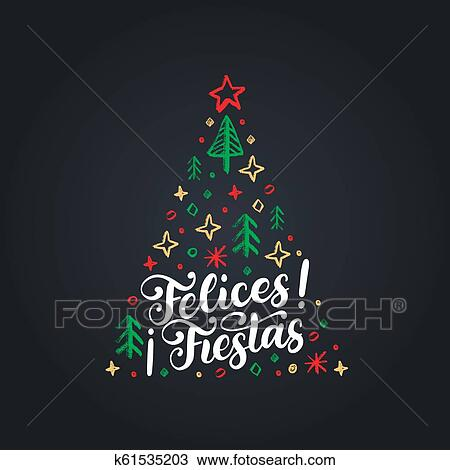 Felices Fiestas Manuscrito Frase Translated De Español