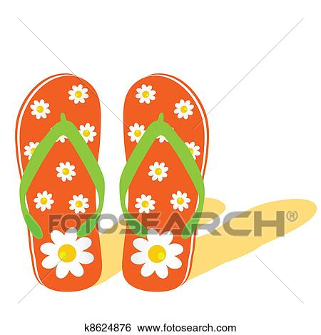 35ca120376a2 Clip Art Flip Flop For Beach With Flower Ilration Fotosearch Search  Clipart. Flip Flop For Beach With Flower Ilration Clip Art K8624876