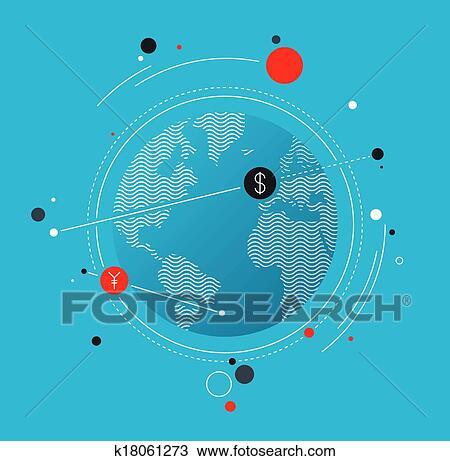 Clipart Of Global Money Exchange Flat Illustration Concept K18061273