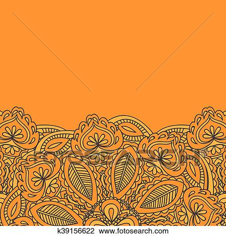 Henna Mehndi Card Template. Mehndi invitation design, Element for  decoration invitations and cards, floral line art Paisley ornament Clipart