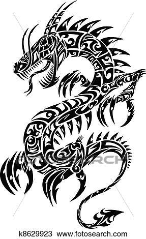 Dragon Tribal Tatouage clipart - iconique, dragon, tribal, tatouage, vecteur k8629923