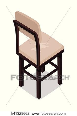Isométrico, de madera, cocina, silla Clipart