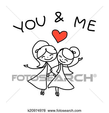 main dessin dessin anim concept heureux mmes couples sexe mariage - Dessin Mariage