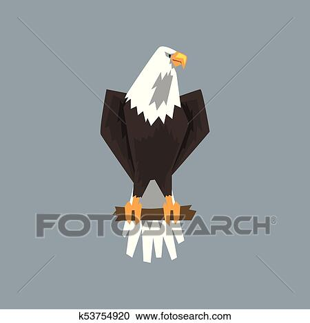 Clipart Of North American Bald Eagle Character Sitting On A Branch