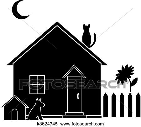 Clipart Of Small House Silhouette K8624745 Search Clip