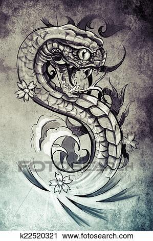 Banques De Photographies Tatouage Serpent Illustration Fait