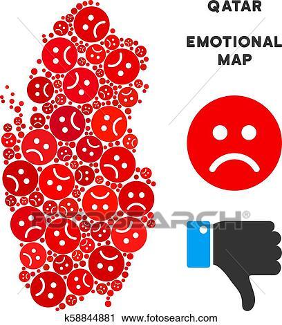 Vector Emotion Qatar Map Composition of Sad Emojis Clipart ...