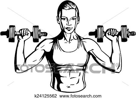 Clipart Of Woman With Dumbbells