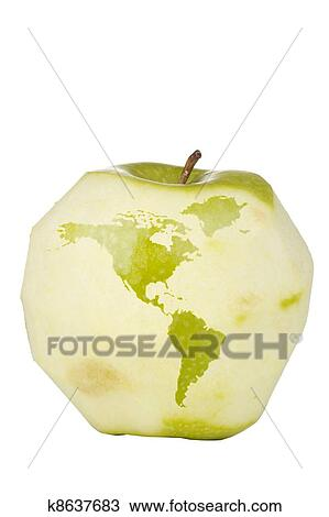 Drawing of apple world map k8637683 search clipart illustration drawing apple world map fotosearch search clipart illustration fine art prints gumiabroncs Images