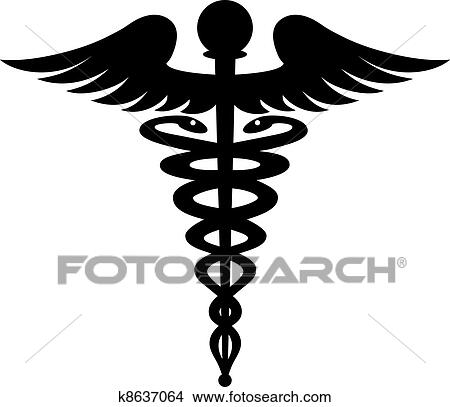 clipart of black caduceus symbol isolated on white k8637064 search rh fotosearch com caduceus clip art free dental caduceus clipart