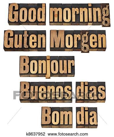 Bom Dia Em Cinco Linguagens Banco De Imagem