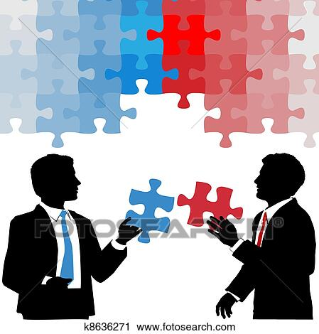 Business people hold collaboration puzzle solution Clipart
