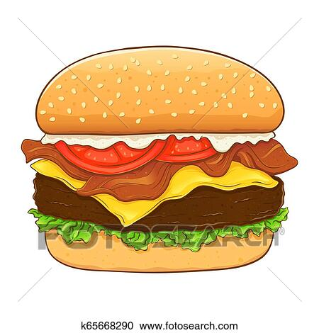 Cheese Burger And Bacon Hand Drawing Clipart K65668290 Fotosearch