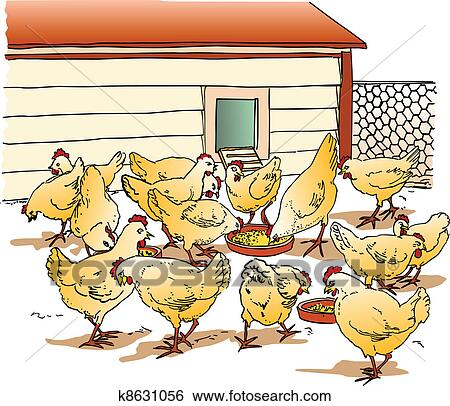 Clip Art Of Chicken Coop K8631056