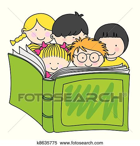 clipart of children reading a book k8635775 search clip art rh fotosearch com clipart of child reading books clipart image of child reading