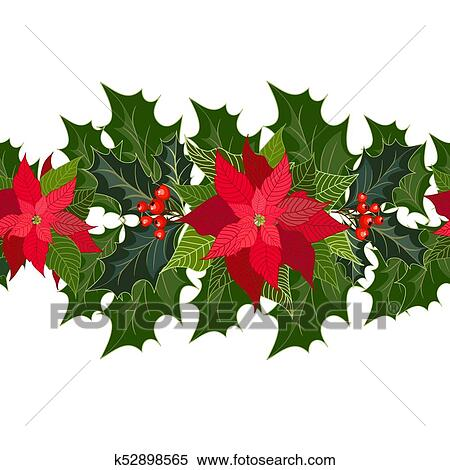 Christmas Holiday Clipart.Christmas Holiday Decorations With Poinsettia Clipart