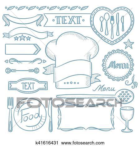 Clipart - conjunto, de, cintas, marcos, para, restaurante, menu ...