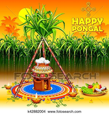 Clipart of happy pongal greeting background k42882004 search clip illustration of happy pongal greeting background m4hsunfo