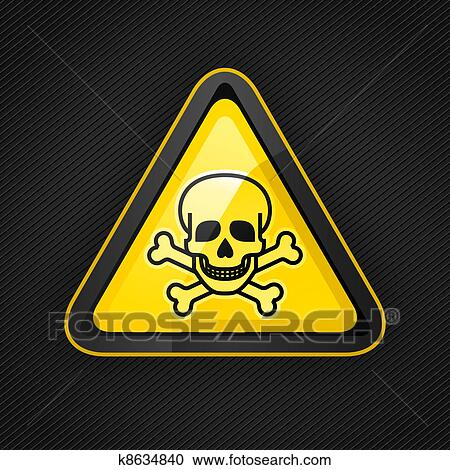 clipart of hazard warning triangle toxic sign on a metal surface