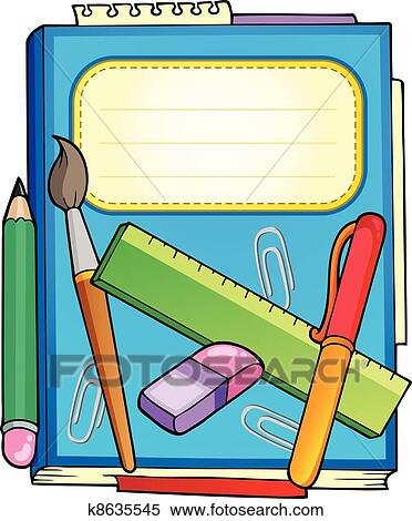 clipart of school notepad with stationery k8635545 search clip art