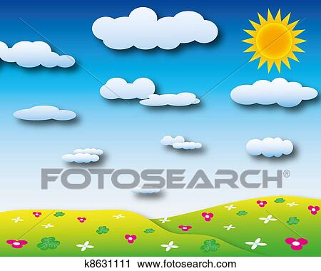 Clipart of Sunshine day with cloudy sky k8631111 - Search ...