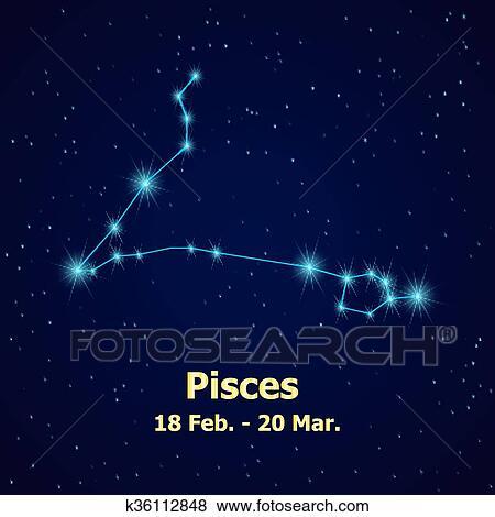 Clip Art Of Symbol Pisces Zodiac Sign K36112848 Search Clipart