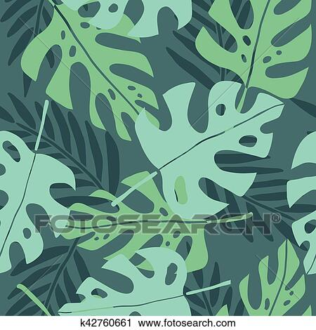 Clipart Of Tropical Leaves Pattern K60 Search Clip Art Fascinating Tropical Leaves Pattern