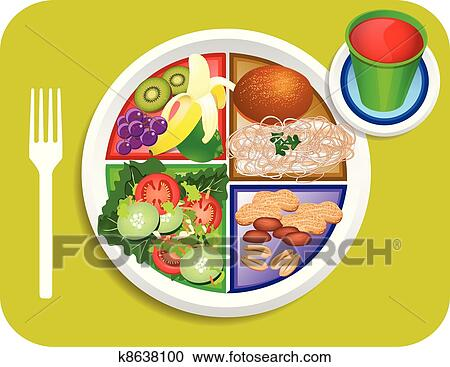clipart of vegan lunch food my plate k8638100 search clip art rh fotosearch com plate full of food clipart plate of food clipart