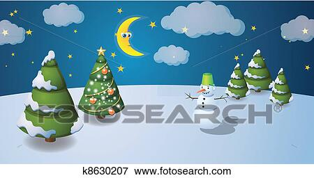 Stock Illustration Of Winter Scenery With Snowman K8630207 Search