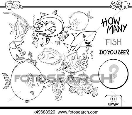 Clipart - contar, pez, libro colorear, actividad k49688920 - Buscar ...