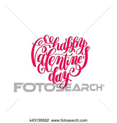 Clipart Feliz Día De Valentines Manuscrito Letras En Forma