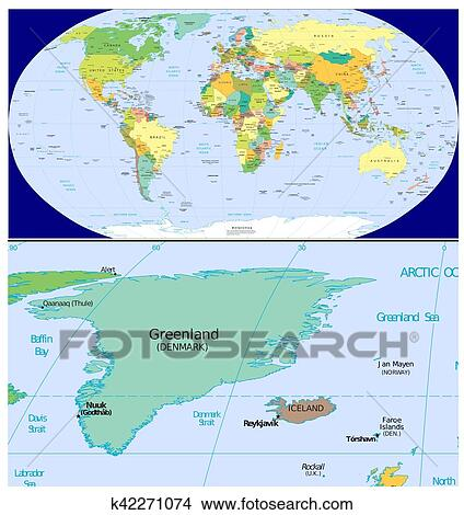Iceland And Greenland World Map.Greenland Iceland And World Drawings K42271074