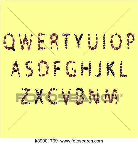 Halloween font  Red and black font from the drop, the English alphabet Clip  Art