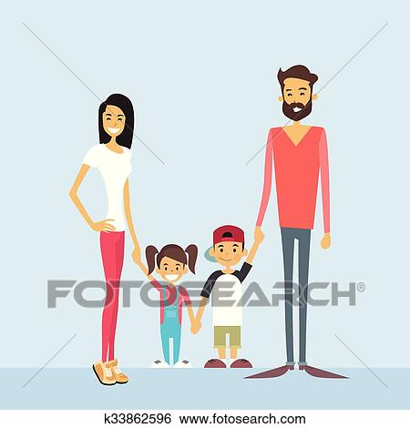 Happy Family Four People Parents With Two Children Holding Hands