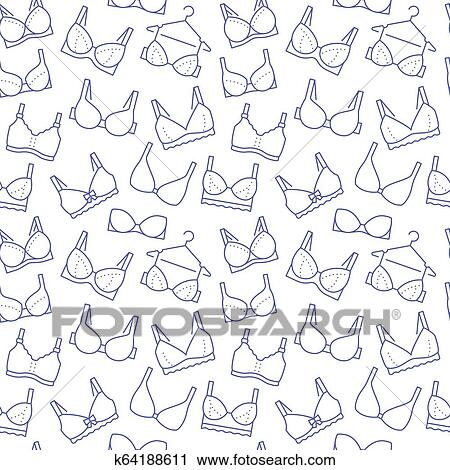 d139d79201e7 Clipart - Lingerie seamless pattern with flat line icons of bra types.  Woman underwear background