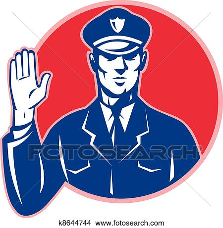 drawings of police officer policeman stop hand k8644744 search rh fotosearch com clip art police shield clip art police woman