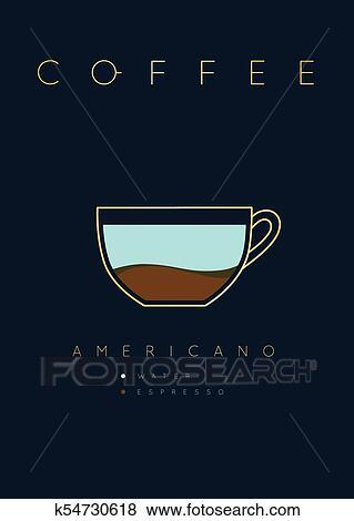Poster Coffee Americano Clip Art K54730618 Fotosearch