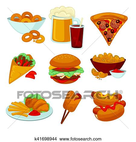 Clipart of Set of fast food meals. Collection cartoon ...