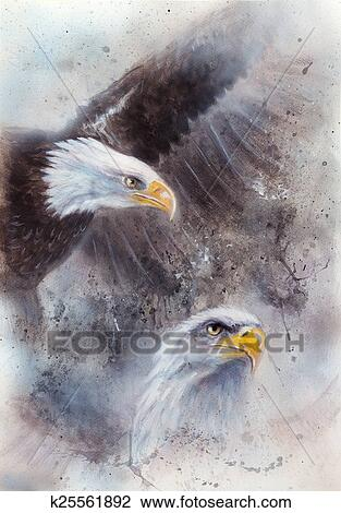 Clip Art Of Symbol Of American Freedom Wild Bald Eagle On Abstract