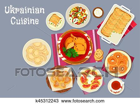 Ukrainian cuisine traditional lunch dishes icon Clipart ...