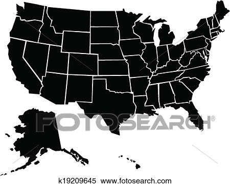 Clipart Of United States Map K19209645 Search Clip Art
