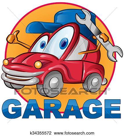 Voiture Garage Symbole Dessin Animé Clipart