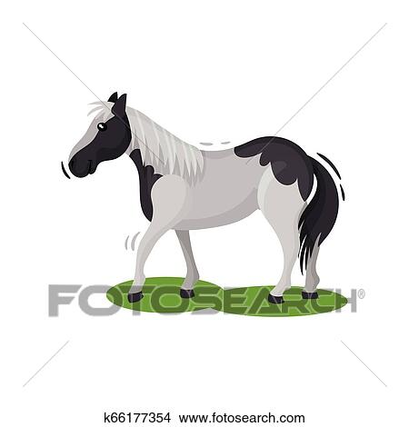 Gorgeous horse rearing up. Domestic animal with brown coat, hooves, long flowing  mane and tail. Flat vector design Clip Art | k62188119 | Fotosearch