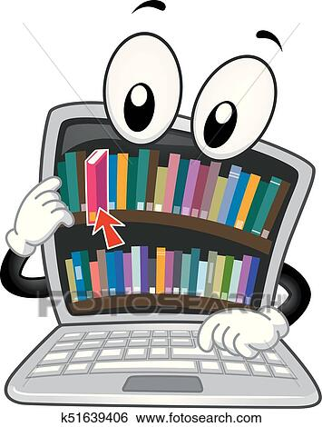 Clip Art - Digital Library Laptop Mascot Illustration. Fotosearch