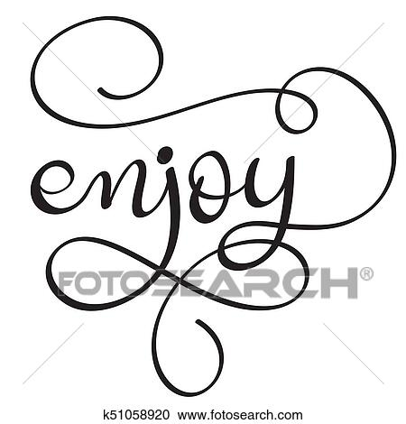 Clipart Of Enjoy Word On White Background Hand Drawn Calligraphy