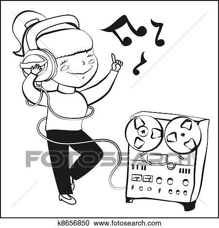 Girl listen music and dansing Clipart | k8656850 | Fotosearch