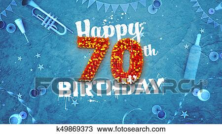 Drawing Of Happy 70th Birthday Card With Beautiful Details K49869373