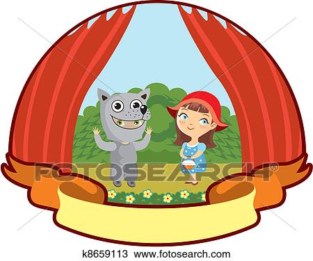 clipart of little red riding hood k8659113 search clip art rh fotosearch com little red riding hood clipart free red riding hood wolf clipart