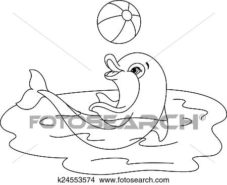 Clipart Of Playful Dolphin Coloring Page K24553574 Search Clip Art