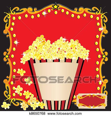Clip art of popcorn and a movie birthday party k8650768 search popcorn and a movie birthday party invitation with red marquee stopboris Image collections